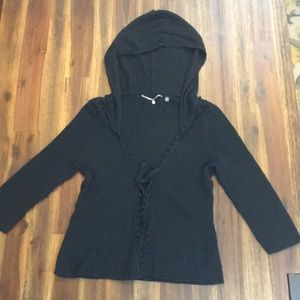 Anthro knitted&knotted black waffle cardigan